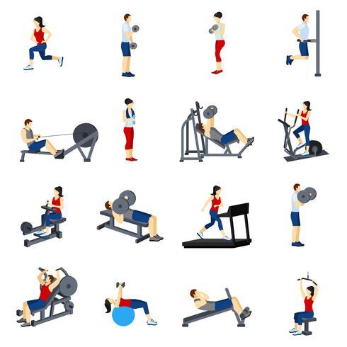 ensemble d'icônes de gym fitness gym vecteur