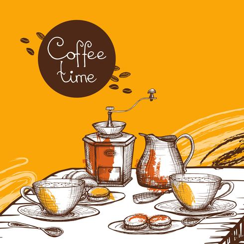 Affiche de fond temps café vecteur