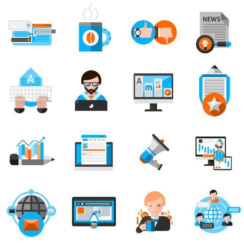 Blogging Icons Set vecteur
