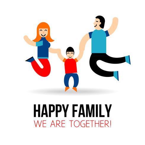 Concept de famille heureuse vecteur