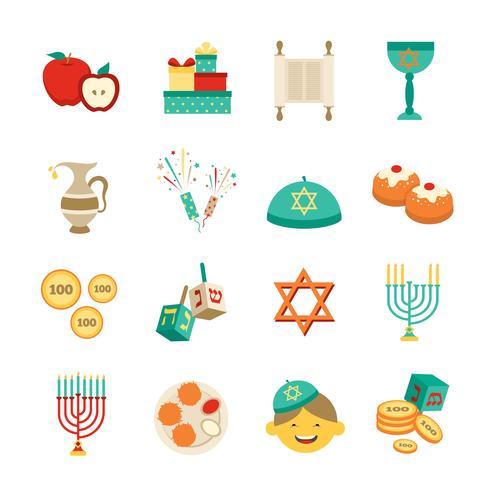 Symboles de Hanoukka Icons Set vecteur