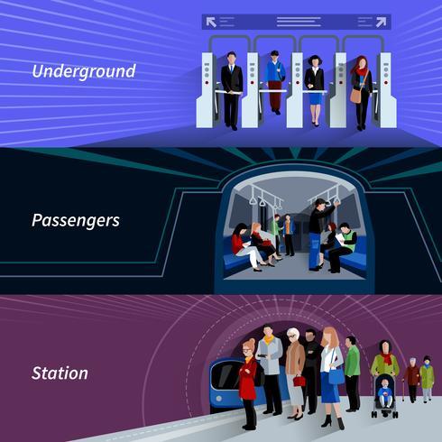 Ensemble de bannières plat passagers du métro vecteur