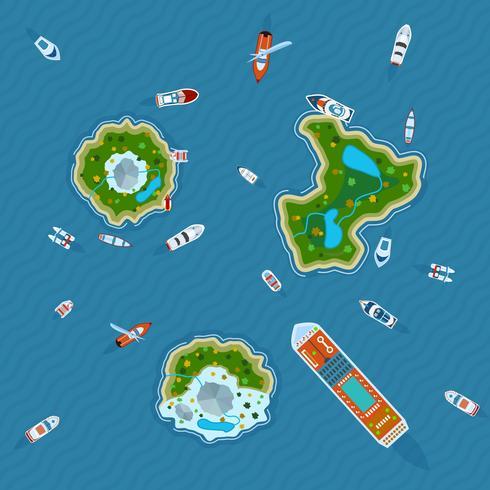 Navires autour des îles vue de dessus vecteur