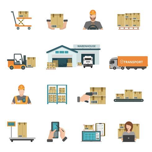 Ensemble d'icônes d'entrepôt vecteur