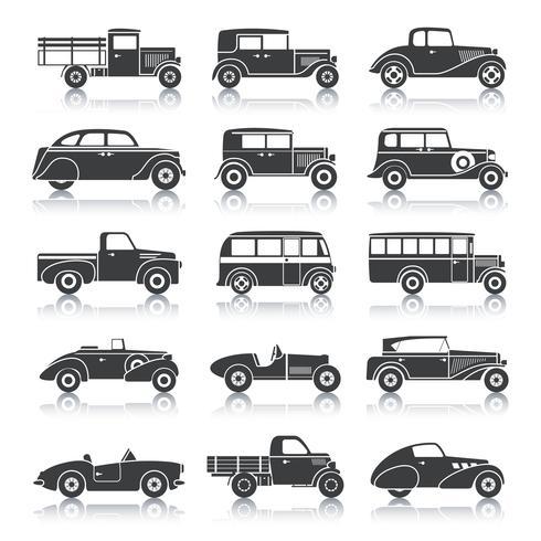 Ensemble de voitures rétro vecteur