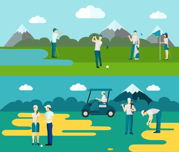 Parcours de golf 2 composition de bannières plates vecteur
