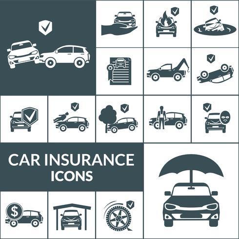 Icônes d'assurance voiture noir vecteur