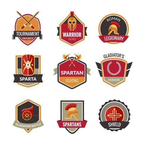 Ensemble d'emblèmes de gladiateurs vecteur
