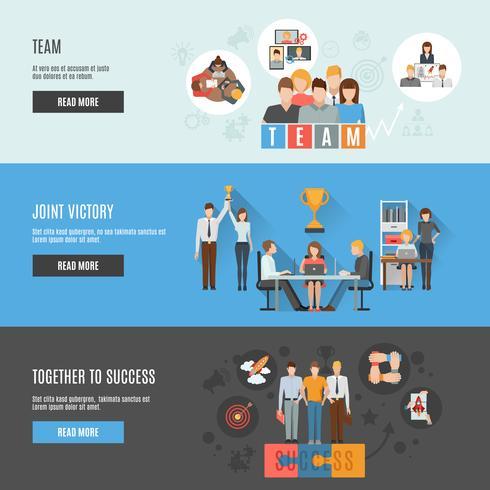 Bannières horizontales plates interactives de gestion du travail d'équipe vecteur