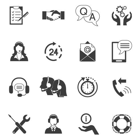 Jeu d'icônes de support client noir et blanc vecteur