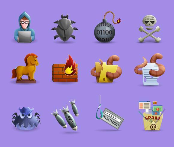 Jeu d'icônes de logiciels malveillants vecteur