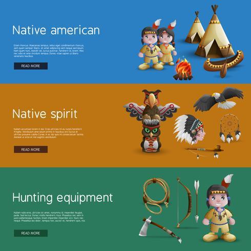 Bannières Amérindiennes Aux Attributs Nationaux vecteur