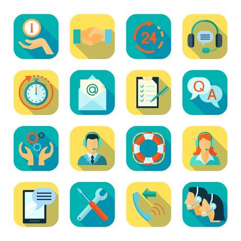 Flat Style Color Icons Ensemble de support technique vecteur