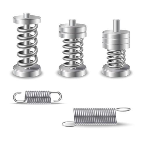 Dispositifs à ressorts métalliques réalistes vecteur