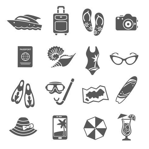 Collection d'icônes noir vacances d'été vecteur