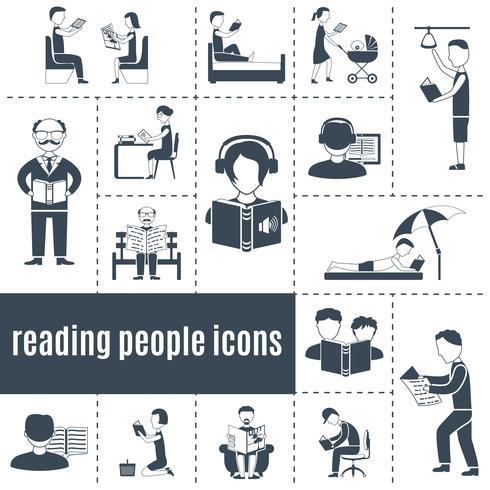 Lecture des gens Icons Set vecteur