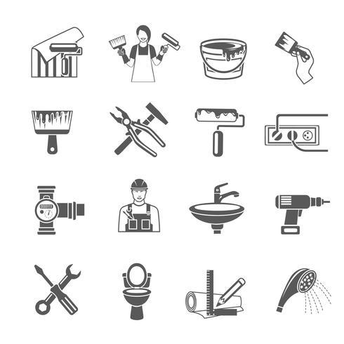 Ensemble d'icônes de réparation à domicile vecteur