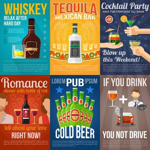 Jeu de mini affiches alcool vecteur