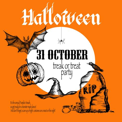 Fond de croquis d'Halloween vecteur