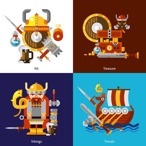 Ensemble d'icônes armée viking vecteur