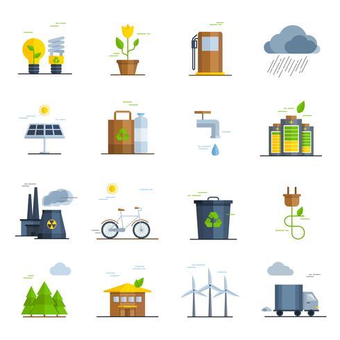 Écologie Icons Set vecteur
