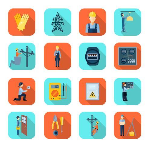 Collection d'icônes plat professionnel de l'électricité homme vecteur