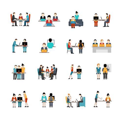 ensemble d'icônes de coworking vecteur