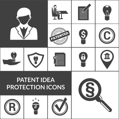 Icônes de protection des idées de brevets noir vecteur