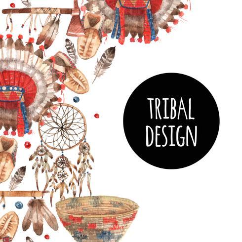 Composition ornementale d'objets symboliques indigènes américains vecteur