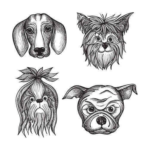 Ensemble de visages de chien dessinés à la main vecteur
