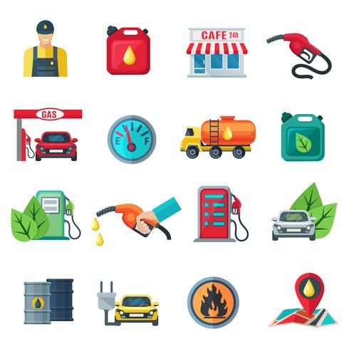 Station d'essence couleur icônes définies vecteur