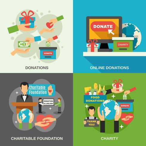 Charity Concept Icons Set vecteur