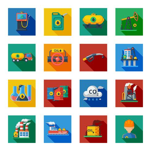 Ensemble plat d'icônes de l'industrie pétrolière vecteur