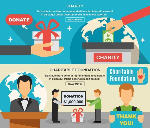 Ensemble de bannières de charité et de dons vecteur