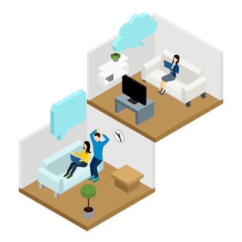 Illustration de communication entre amis vecteur