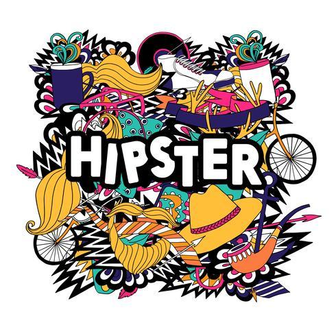 Affiche plate de composition symboles de mode de vie hipster vecteur
