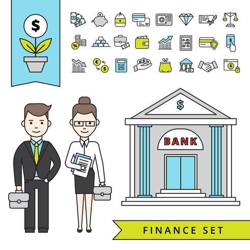 Concept de finance plat avec banque et homme d'affaires vecteur