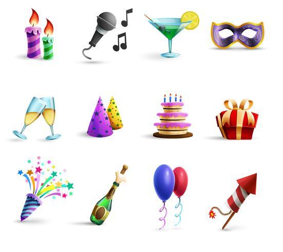 Celebration Colorful Cartoon Style Icons Set vecteur