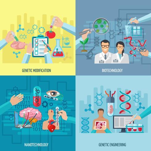 Biotechnologie Icônes Composition Square Concept vecteur