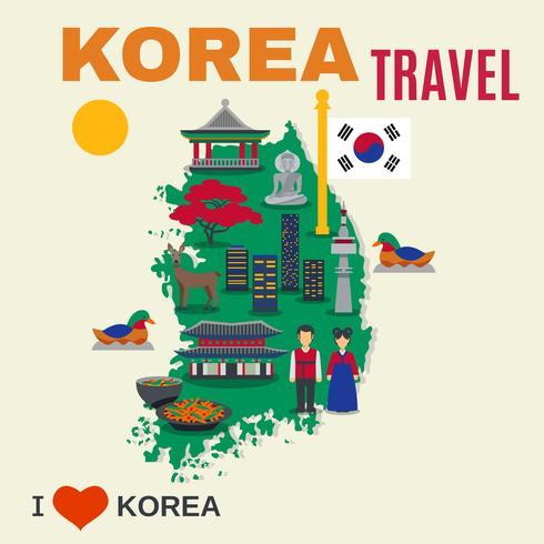 Affiche de voyage de carte de symboles de culture coréenne vecteur