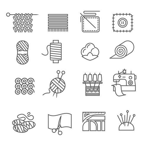 Ensemble d'icônes de l'industrie textile vecteur