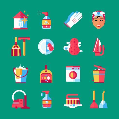 Ménage nettoyage plat Icons Set vecteur