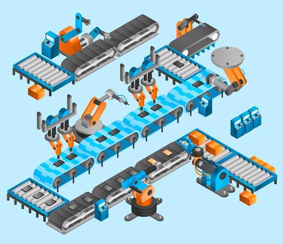 Concept isométrique de robot industriel vecteur