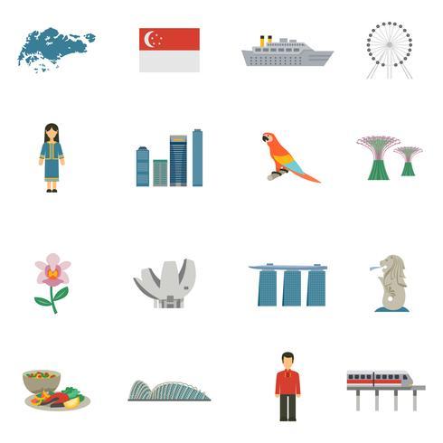 Ensemble d'icônes plat de culture de Singapour vecteur
