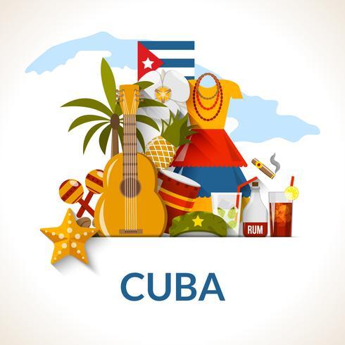 Composition d'affiche de symboles nationaux cubains vecteur