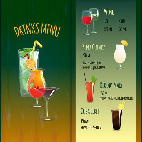 Menu du bar à cocktails vecteur
