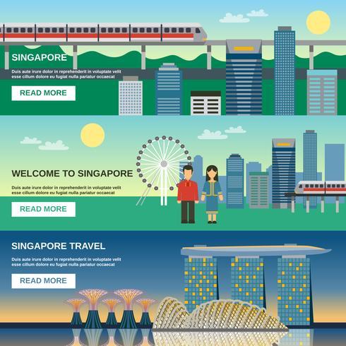 Ensemble de bannières plat Culture Singapour 3 vecteur