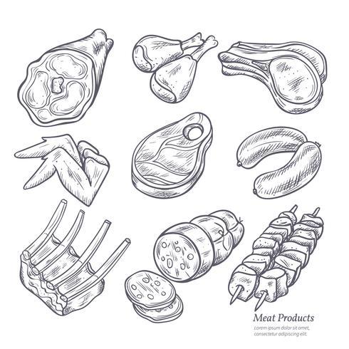 Croquis de produits de viande gastronomiques vecteur