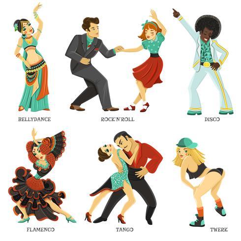 Ensemble d'icônes plat populaire danse autochtone vecteur