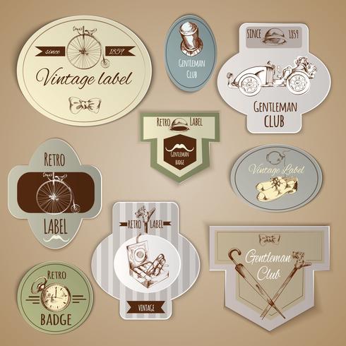 gentleman labels set vecteur